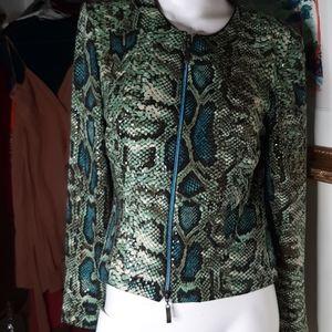 Joseph ribkoff Snakeskin pattern zip up jacket.